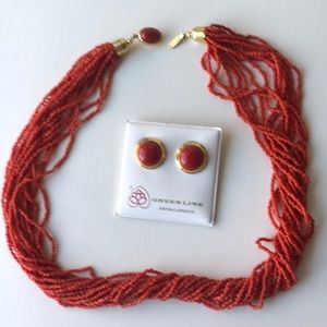 Beautiful coral necklace and earrings NEVER WORN